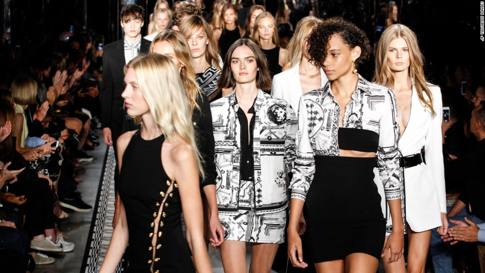 Black-and-white prints with gold detailing dominated the Versus Versace collection.