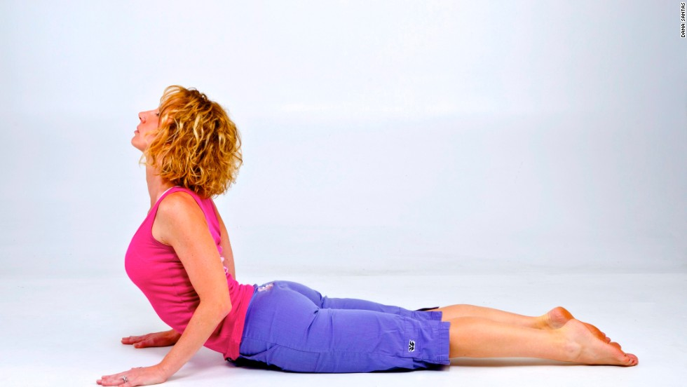 To improve your posture, start with the cobra pose. It stretches the front of body, including the chest, shoulders and core while strengthening and realigning your neck and back muscles.