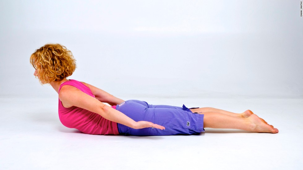 The locust variation strengthens the core, back and neck muscles while opening the chest.