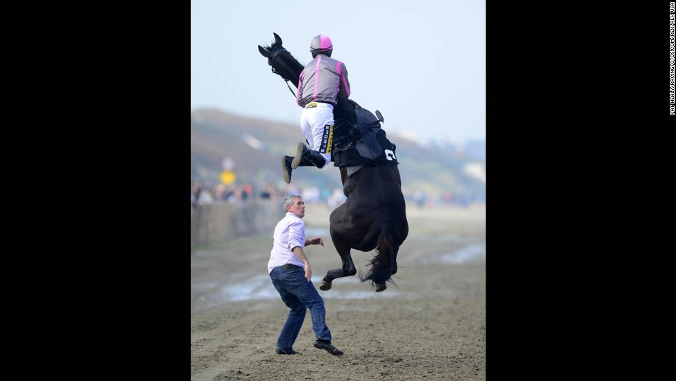 Jockey Johnny King goes flying Thursday, September 4, after mounting Arbitrageur at Laytown Racecourse in Laytown, Ireland. Both the horse and jockey were OK, and they went on to finish in seventh in their race.
