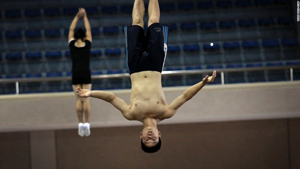 North Korean trampoline athletes practice Tuesday, September 2, in Pyongyang, North Korea. They will be competing in the Asian Games, which start September 19 in Incheon, South Korea.