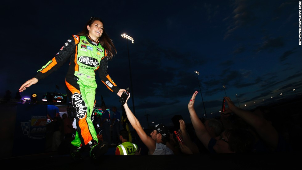 NASCAR driver Danica Patrick is introduced to the crowd before the Sprint Cup race in Richmond, Virginia, on Saturday, September 6.