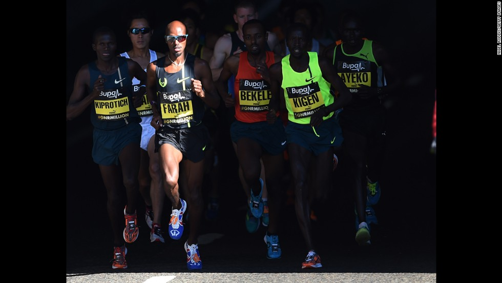 Runners compete in the Great North Run on Sunday, September 7, in Gateshead, England. British athlete Mo Farah won the half marathon (13.1 miles) with a time of exactly 60 minutes.