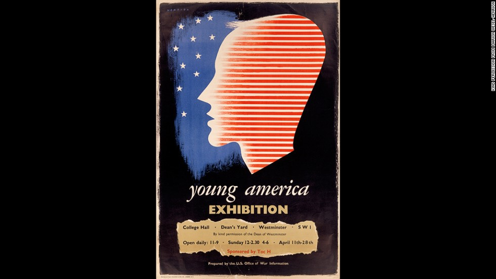 Though FHK Henrion was born in Germany, he spent most of his life in England. Like Games and Eckersley, he relied on the creative use of images and minimal text. This 1942 poster for the U.S. Office of War Information's Young American exhibition in London is a prime example.