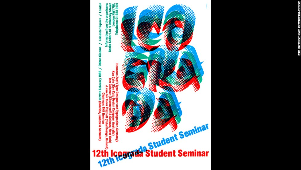 Henrion was president  of Icograda, an organization that celebrates players in the world of communication and design, from 1968 to 1970. He designed this poster for the 12th Icograda Student Seminar in 1986.