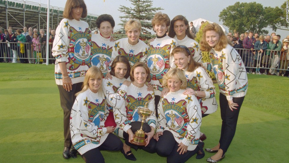 By the 1980s the wives and girlfriends of the players had begun to coordinate their attire, the European WAGs sporting snazzy jumpers during the 1993 contest at the Belfry in England.
