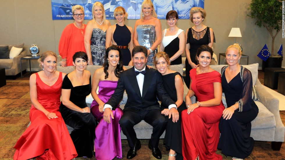 Ahead of the 2012 contest, European captain Jose Maria Olazabal poses with his players wives and girlfriend. Sanna Hanson can be seen in a black dress on the far right of the picture.