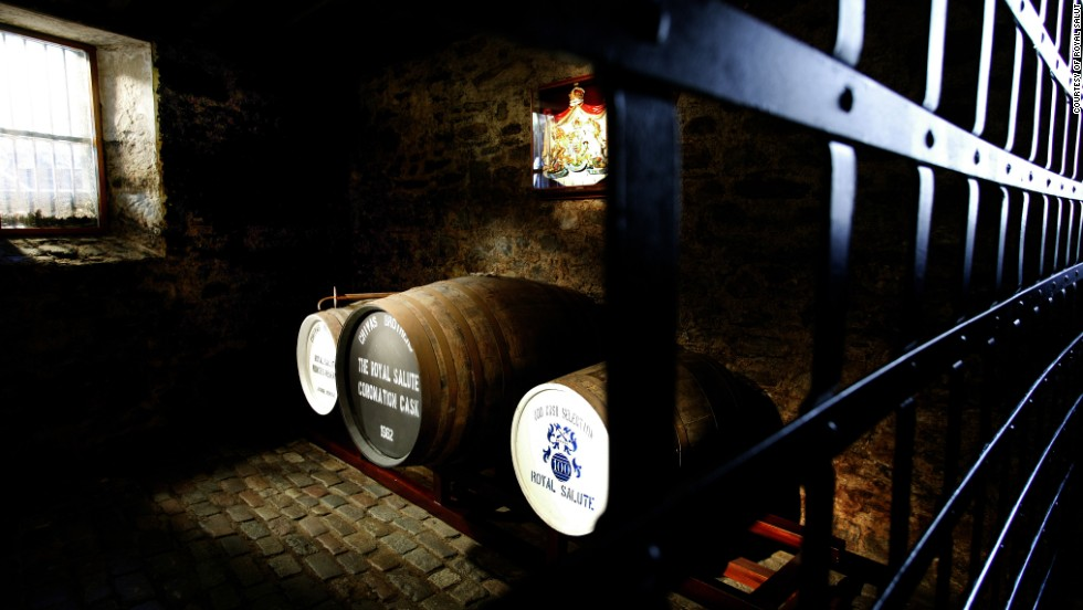 The Royal Salute Vault, pictured, is located in the Strathisla -  the famous distillery in Scotland. Only Colin Scott, Royal Salute's Master Blender for the past 21 years, has actually tasted the blend which he created.