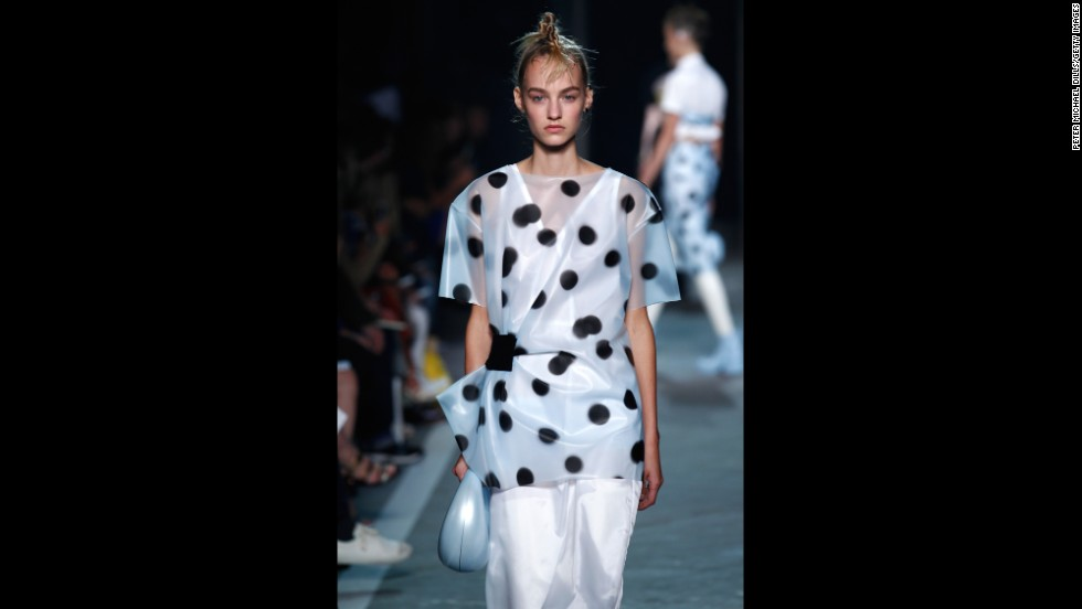 Polka dots were seen throughout the edgy brand's spring collection.