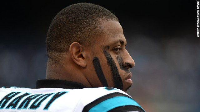 SAN DIEGO, CA - DECEMBER 16: Greg Hardy #76 of the Carolina Panthers looks onto the field during the game against the San Diego Chargers on December 16, 2012 at Qualcomm Stadium in San Diego, California. (Photo by )