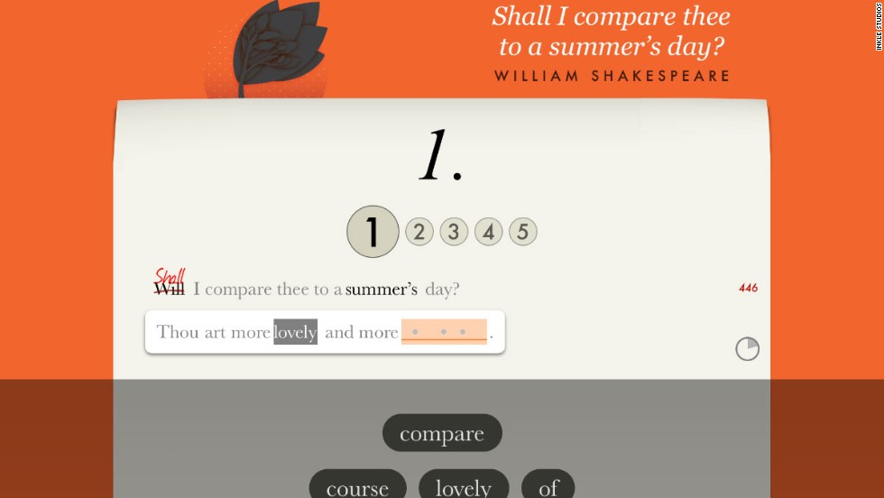 Another Inkle feature helps users to learn and understand Penguin Classic poems.