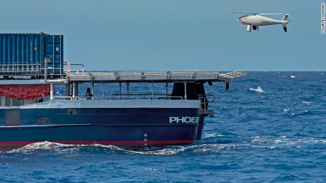 "Rescue ship ""Phoenix"" features two drones to scout out surrounding areas."