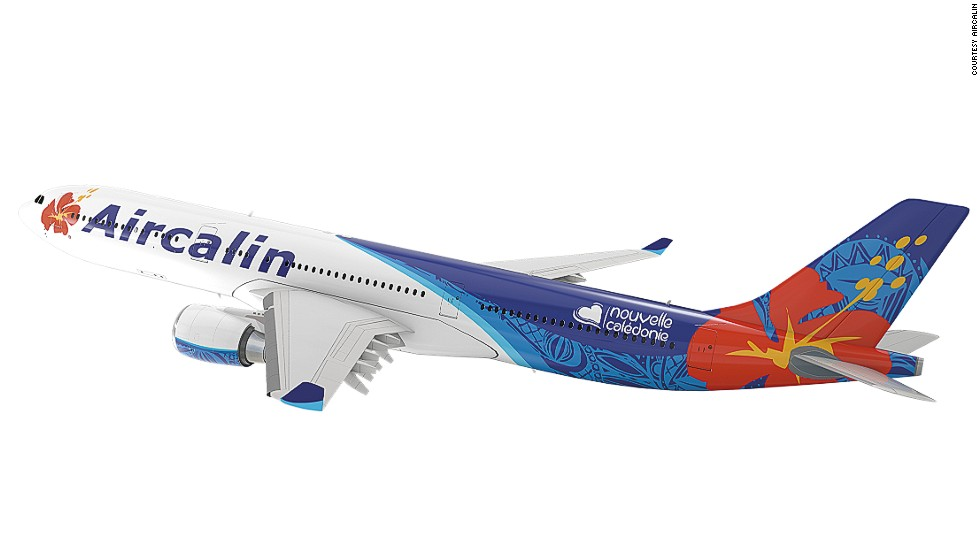 New Caledonia airline Aircalin updated its livery in 2014 when it received its first delivery of A320s. The airline took traditional symbols of the region -- the hibiscus flower and Kanak art -- to create a bold new look.