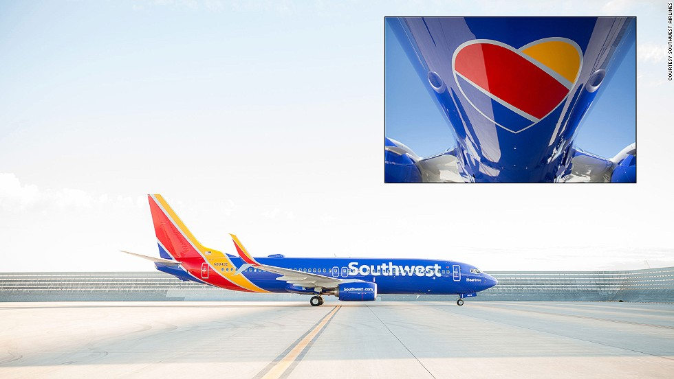 Southwest Airlines introduced a new red, yellow and blue color scheme, and a heart to represent the care the carrier puts into its product in 2014.
