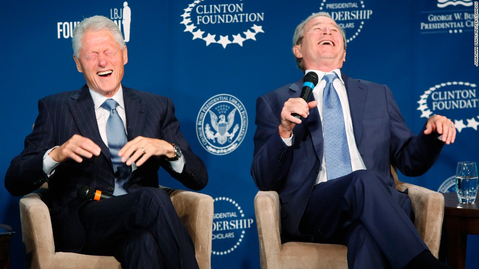 "Former U.S. Presidents Bill Clinton, left, and George W. Bush laugh on stage Monday, September 8, during an event at the Newseum in Washington. The event was for a new leadership program they were launching, <a href=""http://www.cnn.com/2014/09/08/politics/clinton-bush-friendship/"">but they also joked with and about each other,</a> told stories about their relationship and even offered commentary about the number of selfies each is asked to take."