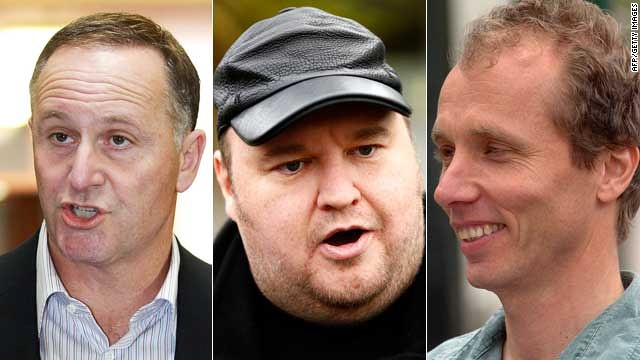 The scandal engulfing New Zealand PM John Key's (L) government has delighted tech entrepreneur Kim Dotcom (C) and was triggered by journalist Nicky Hager (R).