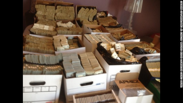 Cash seized during a federal raid of cartels' alleged money laundering in Los Angeles.