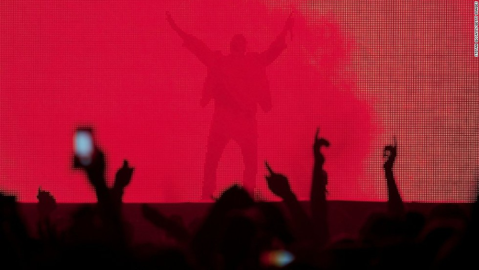 "Rapper Kanye West performs in Perth, Australia, during a stop on his ""Yeezus Tour"" on Friday, September 5."
