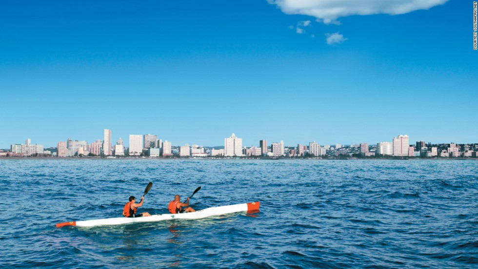 The water off Durban is warm enough to swim in year round, making it a watersports paradise. The beaches are protected by shark nets.