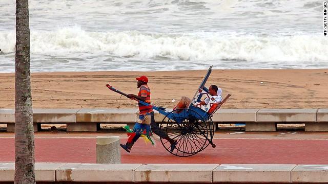 Pulling power: A beachfront rickshaw ride.