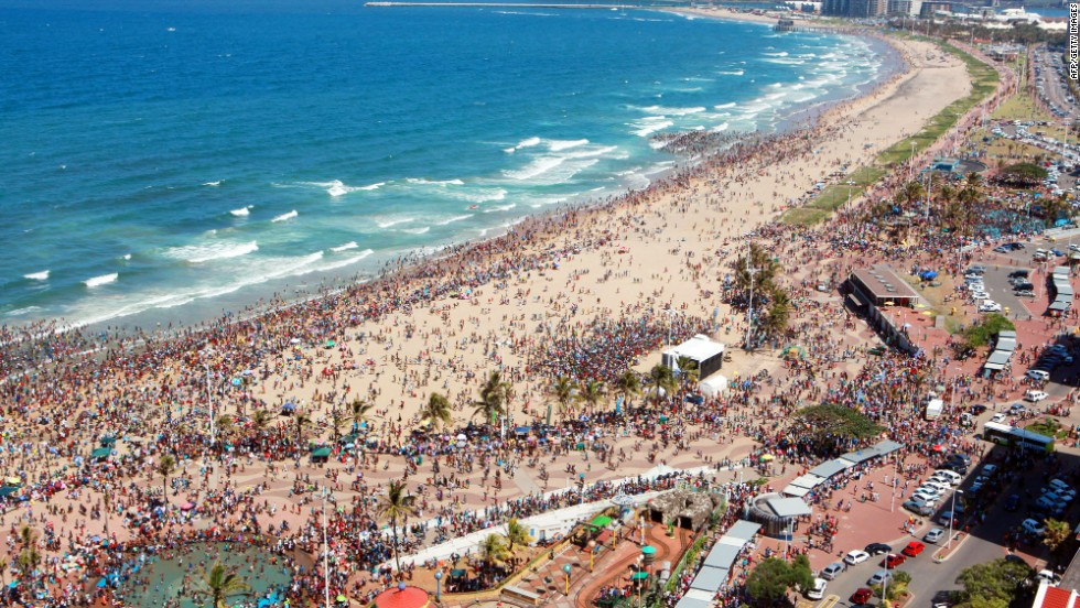 One million South Africans flock to Durban's beaches every summer. For Christmas or New Year, book early or don't bother.