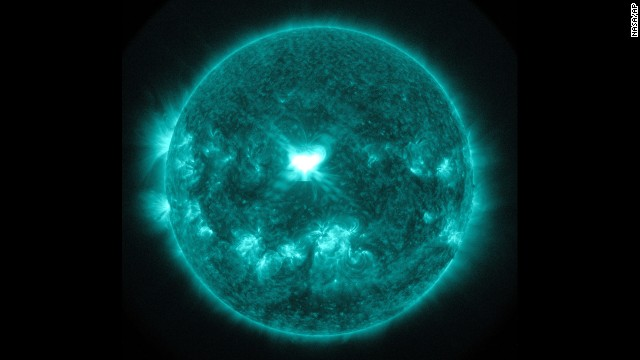 This image provided by NASA, shows an extreme ultra-violet wavelength image of solar flare captured about 1:45 p.m. EDT on Wednesday, Sept. 10, 2014. It's been several years since Earth has had a solar storm of this size coming from sunspots smack in the middle of the sun, said Tom Berger, director of the Space Weather Prediction Center in Boulder, Colo. (AP Photo/NASA)