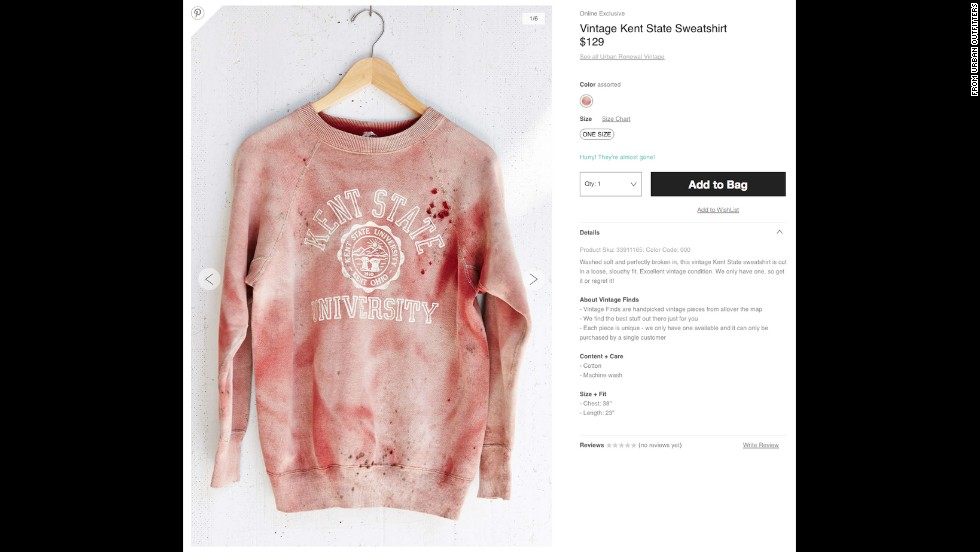 "After coming under criticism, Urban Outfitters has <a href=""http://money.cnn.com/2014/09/15/news/companies/urban-outfitters-kent-state/"">stopped selling</a> a ""vintage"" Kent State sweatshirt that has what appears to be simulated blood splatter on it. Kent State was the site of a <a href=""http://www.cnn.com/2014/05/02/us/gallery/kent-state-shooting/"">1970 shooting</a> that left four students dead and nine wounded during a Vietnam War protest. Urban Outfitters <a href=""https://twitter.com/UrbanOutfitters/status/511515053791907840"" target=""_blank"">issued an apology</a> via Twitter and said the red stains were not meant to resemble blood."