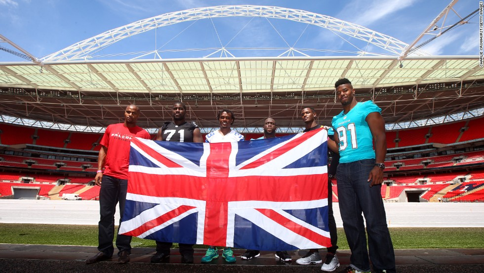 Osi Umenyiora of Atlanta Falcons, Menelik Watson of Oakland Raiders, Brandon Carr of Dallas Cowboys, Stephen Tulloch of Detroit Lions, Will Blackmon of Jacksonville Jaguars and Cameron Wake of Miami Dolphins take to the Wembley pitch to help promote the International Series.