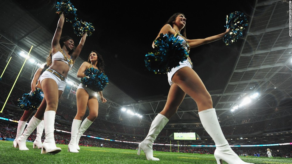 The NFL juggernaut is back in London. Here cheerleaders perform at Wembley Stadium during one of last year's games when San Francisco 49ers beat Jacksonville Jaguars 42-10.