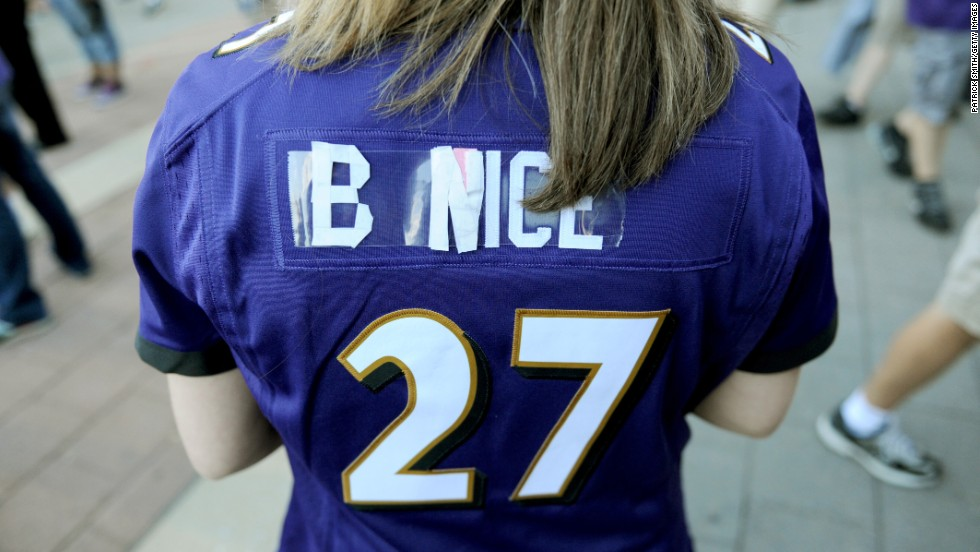 "A Baltimore Ravens fan tweaked her Ray Rice jersey to say ""B Nice"" before the Ravens' home game against the Pittsburgh Steelers on Thursday, September 11. Rice, the Ravens' star running back, was <a href=""http://www.cnn.com/2014/09/08/us/ray-rice-new-video/index.html"">released by the team</a> and suspended indefinitely by the NFL after video showed him knocking out his then-fiancee — now his wife — back in February."