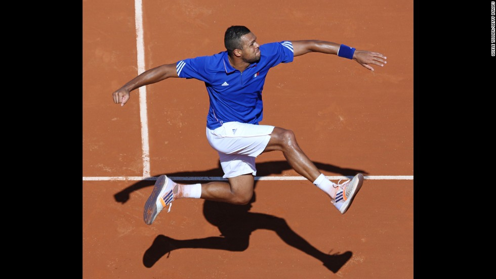 Jo-Wilfried Tsonga of France celebrates Friday, September 12, after winning a Davis Cup singles match in Paris against Lukas Rosol of the Czech Republic. France will take on Switzerland in the Davis Cup final in November.