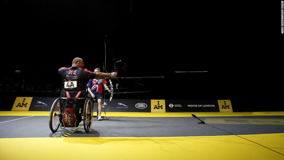 British archer Steven Gill fires an arrow Friday, September 12, during the Invictus Games in London. Some 400 competitors took part in the Invictus Games, which brought together injured service members from 13 nations that have served alongside each other, including Britain, the United States and Canada.