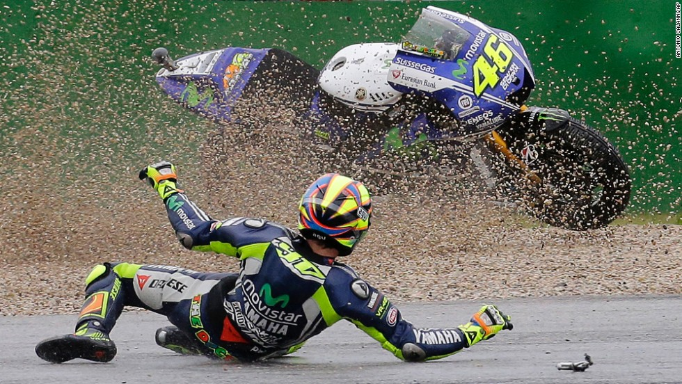 MotoGP rider Valentino Rossi crashes Friday, September 12, during a practice session for the San Marino Grand Prix in Misano Adriatico, Italy. He went on to win the race a few days later.