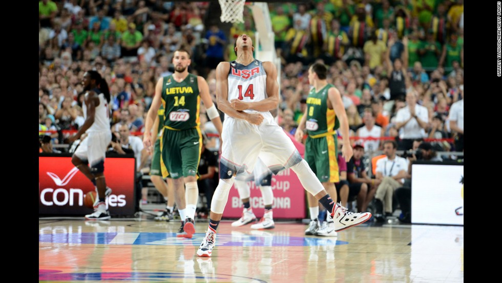 Anthony Davis of the United States gets fired up during the FIBA World Cup semifinals Thursday, September 11, in Barcelona, Spain. The United States defeated Lithuania in the semis and went on to win the final against Serbia three days later. The Americans went undefeated in the tournament, winning every game by at least 21 points.