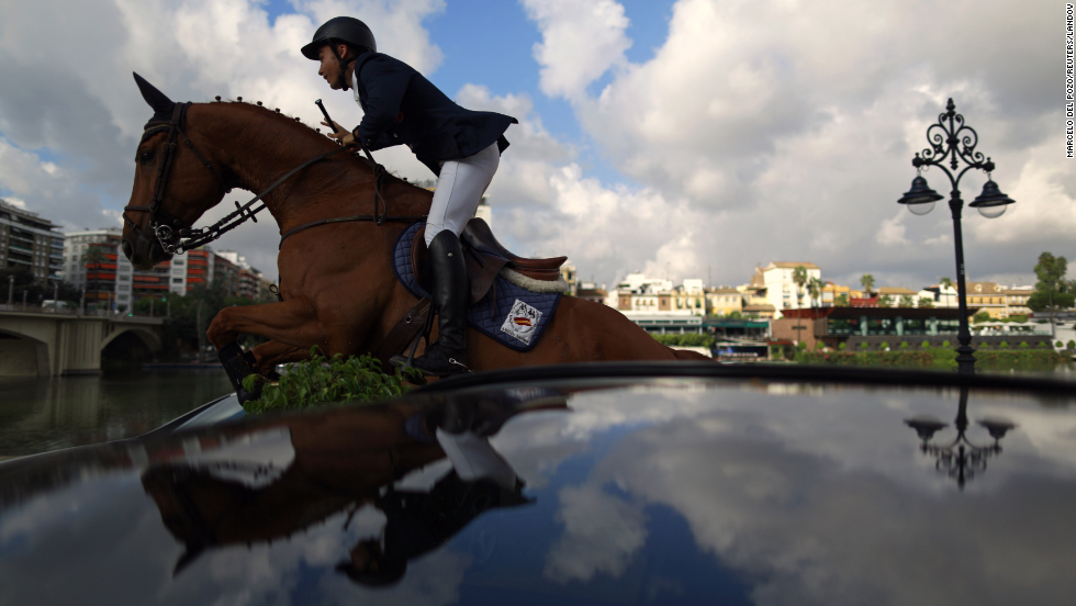 Francisco Gavino competes in a horse jumping event in Seville, Spain, on Thursday, September 11.