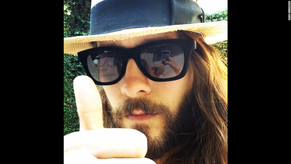 "The phone of Oscar-winning actor Jared Leto can be seen on his sunglasses in this selfie <a href=""http://instagram.com/p/s8eoh6zBbL/"" target=""_blank"">he posted to Instagram</a> on Sunday, September 14. Leto was promoting a show the next day for his rock band Thirty Seconds to Mars, which performed at the Hollywood Bowl in Los Angeles along with Linkin Park."