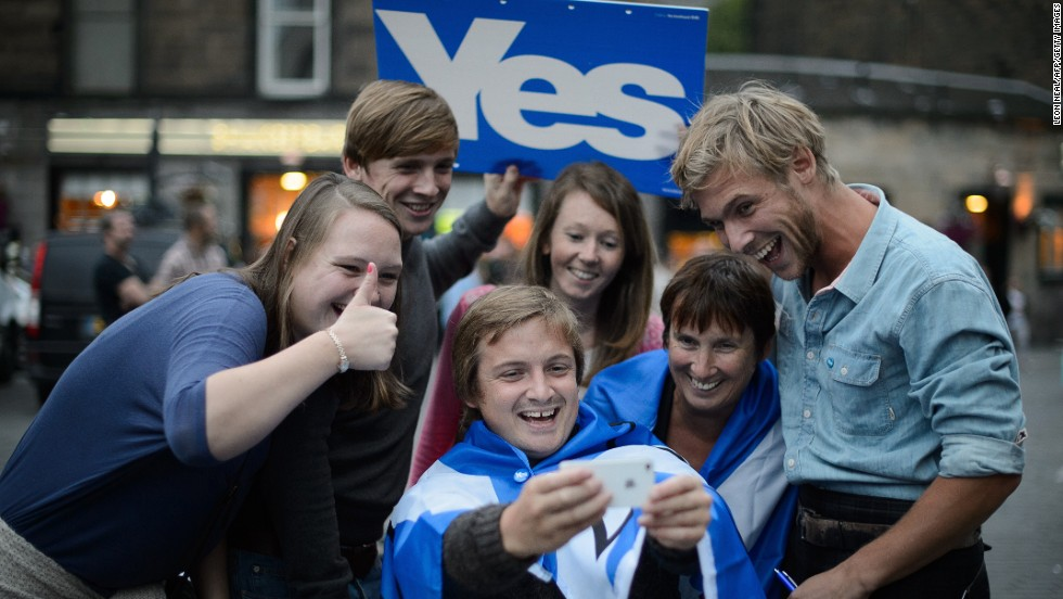"Supporters of Scottish independence take a selfie ahead of a concert in Edinburgh, Scotland, on Sunday, September 14. Scots will head to the polls on Thursday, September 18, to vote on <a href=""http://www.cnn.com/2014/09/12/europe/gallery/scottish-referendum/index.html"">a referendum</a> that could end Scotland's 307-year union with England and Wales as Great Britain -- and launch it into the world as an independent nation."