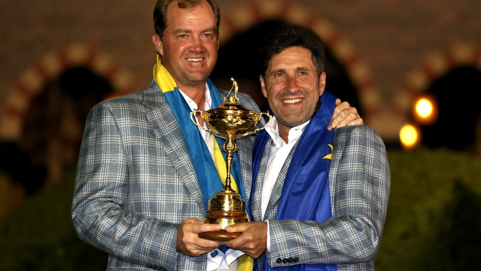 Hanson took part in arguably the most dramatic day in Ryder Cup history in 2012, when Europe overturned a 10-6 deficit to retain the trophy for captain Jose Maria Olazabal (pictured.)