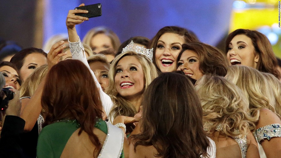 Kira Kazantsev takes a selfie with her fellow competitors after winning the Miss America pageant Sunday, September 14, in Atlantic City, New Jersey. It was the third straight year that Miss New York has been crowned Miss America.