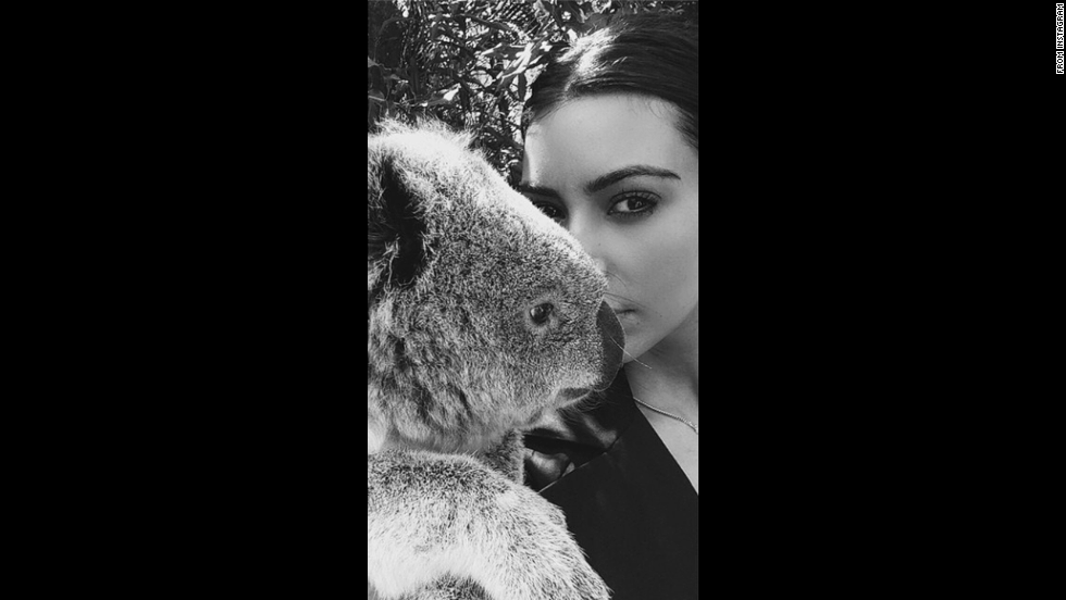 "Reality television star Kim Kardashian <a href=""http://instagram.com/p/s9iF8WOSxn/"" target=""_blank"">poses with a koala</a> in this selfie posted to Instagram on Monday, September 15."