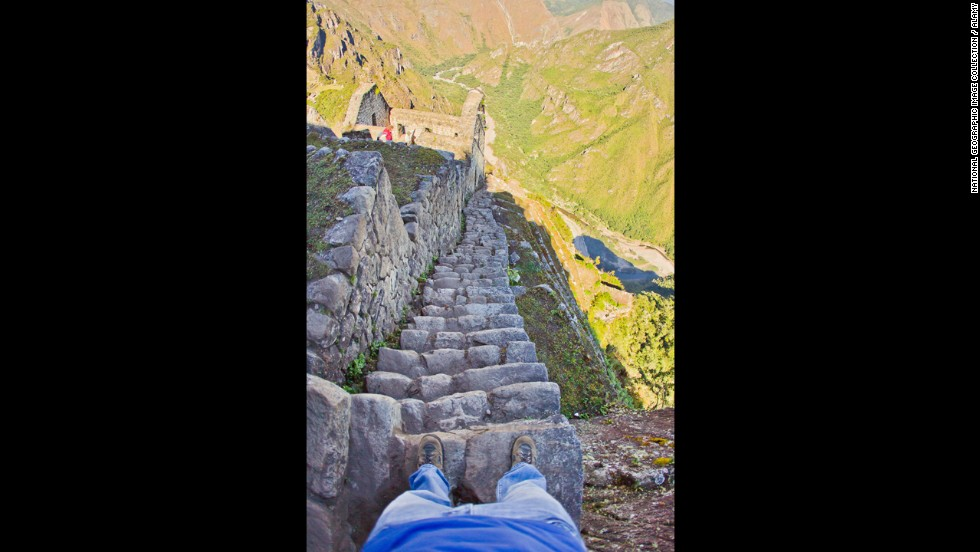 There are 600 feet or so of steep, granite stairs carved by the Inca carved more than 500 years ago into the side of Huayna Picchu at Machu Picchu. The stairs lead to the rarely visited Moon Temple.