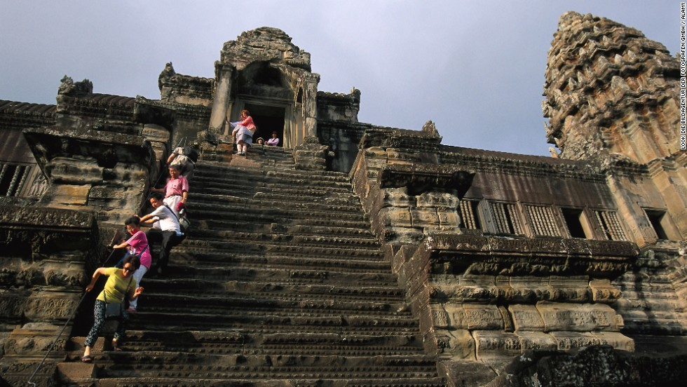 Angkor Wat's temple stairs in Cambodia were supposedly made steep to remind climbers that heaven is hard to reach.