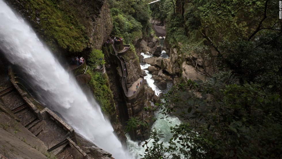 Ecuador's Pailon del Diablo Waterfall —in English, the Devil's Cauldron—are slippery from the mist of the falls. Tread carefully.