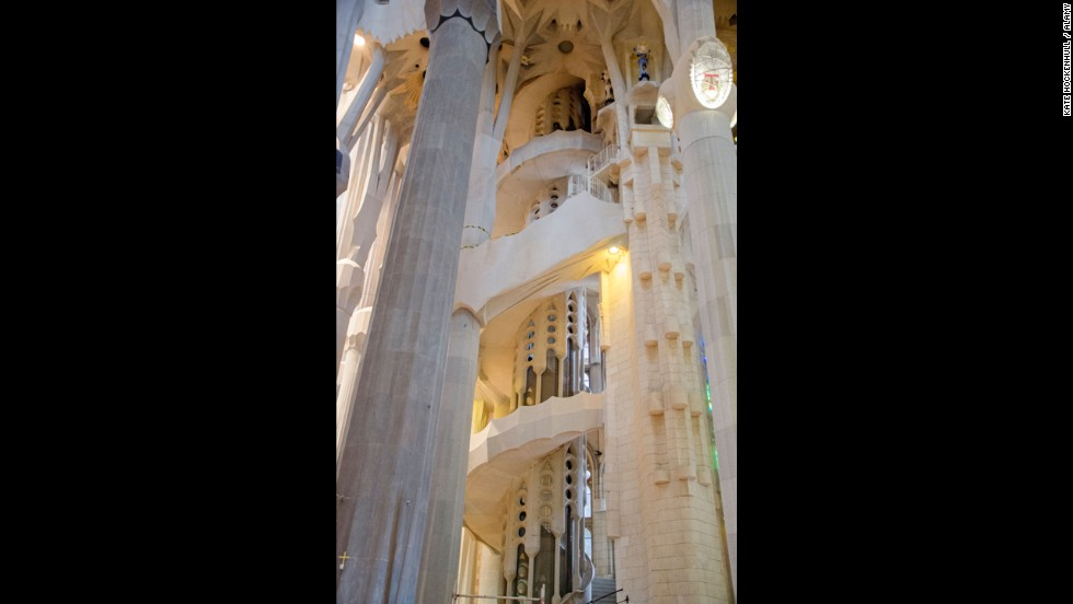 The spiral staircase to the towers of the Sagrada Familia in Barcelona, Spain, doesn't have a banister to prevent you from falling over the edge while you're walking up or down.