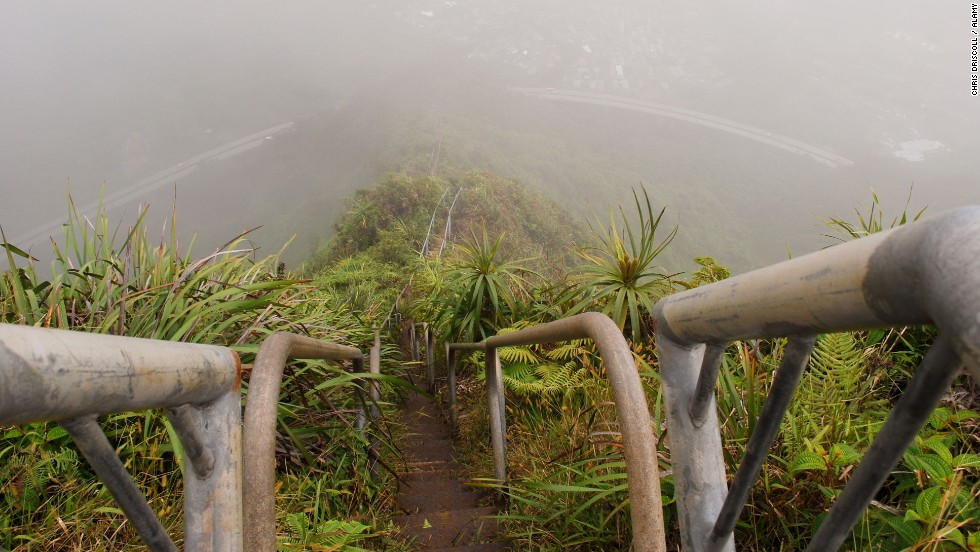 It's actually illegal to climb the Haiku Stairs in Oahu, Hawaii, and a guard is stationed at the bottom to stop trespassers from trying. <br />