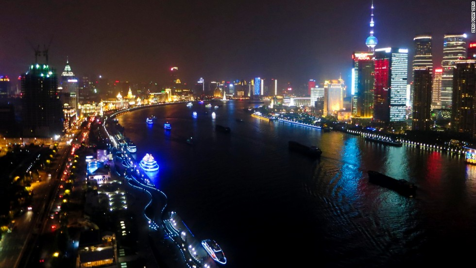 Bourdain visits the booming city of Shanghai, China, along the Huangpu River.