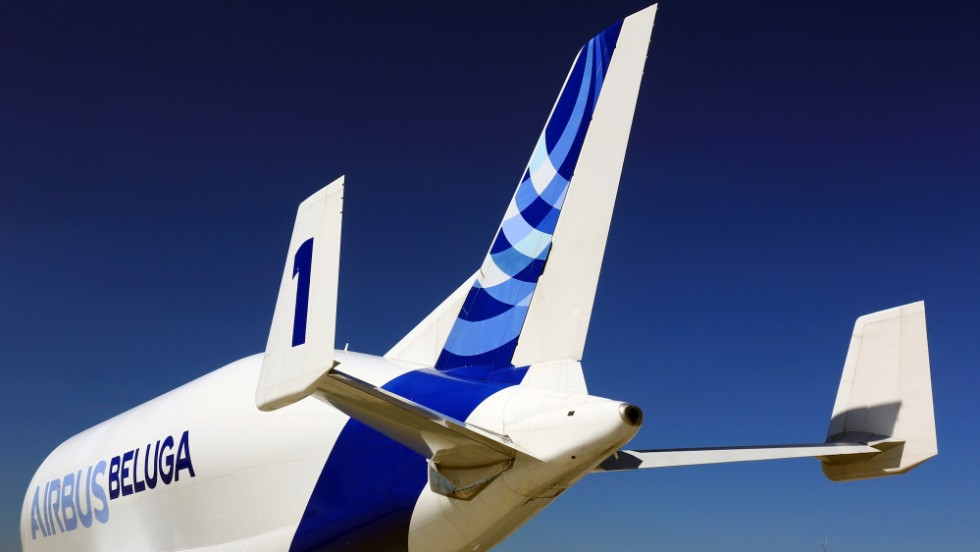 The Beluga has special stabilizer fins, found near the plane's tail.