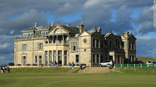 A view of the clubhouse of the Royal and Ancient Golf Club of St Andrews and the 18th green (R) and first tee on the Old Course at St Andrews venue for The Open Championship in 2015, on July 29, 2014 in St Andrews, Scotland. (Photo by David Cannon/Getty Images)