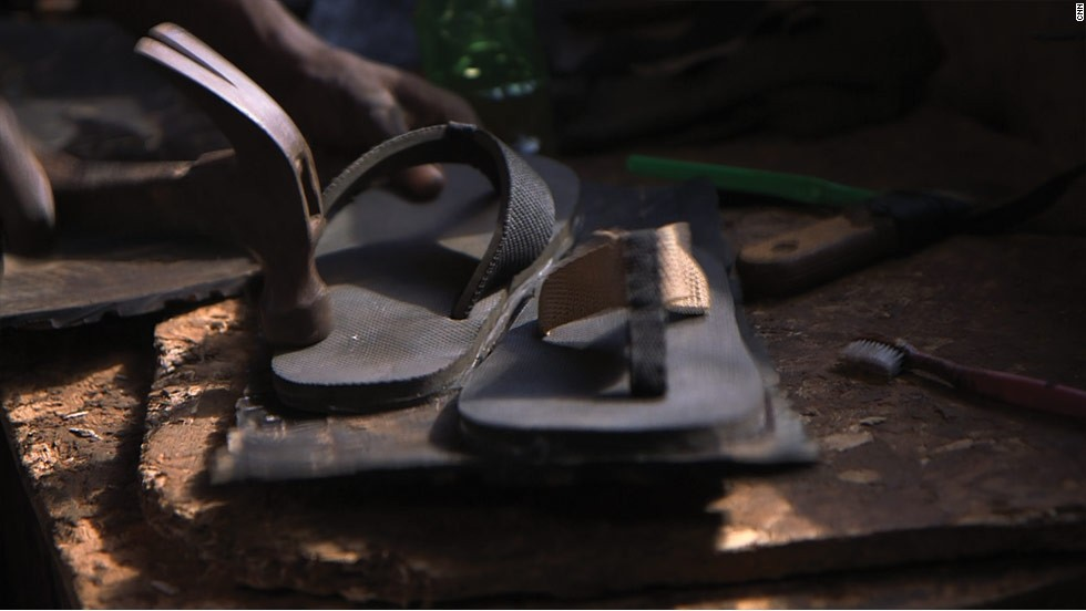 "As well as providing hope for a better future for underprivileged Ugandan youth, Byaruhanga also hopes the sustainable shoes will help protect the environment by repurposing ""trash"" like old tires. He says that Pamoja's profits from the shoe line are shared with the children who make them and thus help them support themselves, as well as learning a life skill."