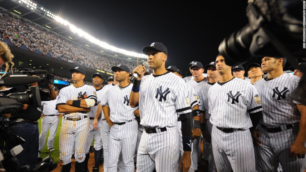 Jeter addresses the crowd after the Yankees played their final game at the old Yankee Stadium in September 2008.